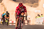 Race leader Nathan Haas (AUS) Team Katusha-Alpecin crosses the finish line of Stage 3 of the 2018 Tour of Oman running 179.5km from German University of Technology to Wadi Dayqah Dam. 15th February 2018.<br /> Picture: ASO/Muscat Municipality/Kare Dehlie Thorstad | Cyclefile<br /> <br /> <br /> All photos usage must carry mandatory copyright credit (&copy; Cyclefile | ASO/Muscat Municipality/Kare Dehlie Thorstad)