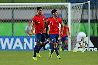 2nd November 2019; Kleber Andrade Stadium, Cariacica, Espirito Santo, Brazil; FIFA U-17 World Cup Brazil 2019, Chile versus Korea Republic; Alexandre Oroz of Chile celebrates his goal with Nicolas Garrido in the 41st minute, 1-2