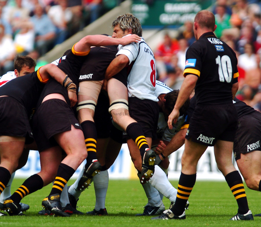 Photo. Henry Browne..23/05/2004..London Wasps v Toulouse Heineken Cup Final...Richard Birkett gets a fisting.