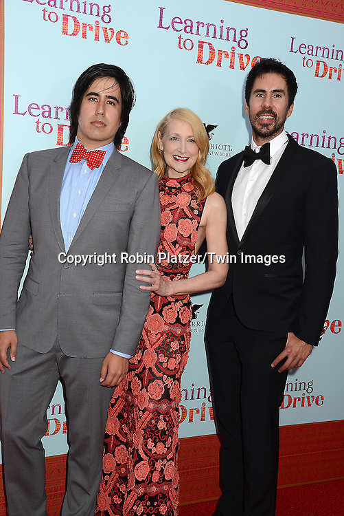 Patricia Clarkson with Daniel Hammond and Gabriel Hammond attend the NewYork VIP Premiere of &quot;Learning to Drive&quot; on August 17, 2015 at The Paris Theatre in New York City, New York, USA. <br /> <br /> photo by Robin Platzer/Twin Images<br />  <br /> phone number 212-935-0770