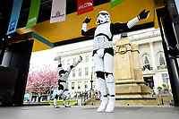 Picture by SWpix.com - 04/05/2018 - Cycling - 2018 Tour de Yorkshire - Stage 2: Barnsley to Ilkley - Yorkshire, England - Stormtroopers on the stage at Barnsley prior to race sign-on.