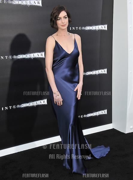 Anne Hathaway at the Los Angeles premiere of her movie Interstellar at the TCL Chinese Theatre, Hollywood.<br /> October 26, 2014  Los Angeles, CA<br /> Picture: Paul Smith / Featureflash