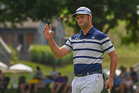 Jon Rahm (ESP) after sinking his par putt on 16 during 1st round of the World Golf Championships - Bridgestone Invitational, at the Firestone Country Club, Akron, Ohio. 8/2/2018.<br /> Picture: Golffile | Ken Murray<br /> <br /> <br /> All photo usage must carry mandatory copyright credit (© Golffile | Ken Murray)