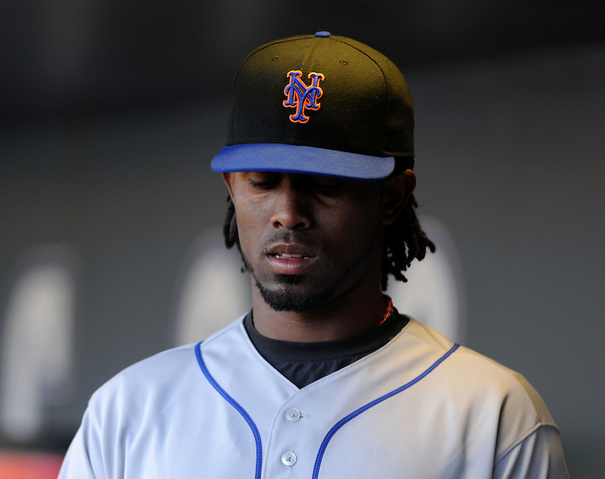 13 April 2010: New York Mets shortstop Jose Reyes in the dugout during a regular season Major League Baseball game between the Colorado Rockies and the New York Mets at Coors Field in Denver,  Colorado. The Rockies defeated the Mets 11-3.  *****For Editorial Use Only*****