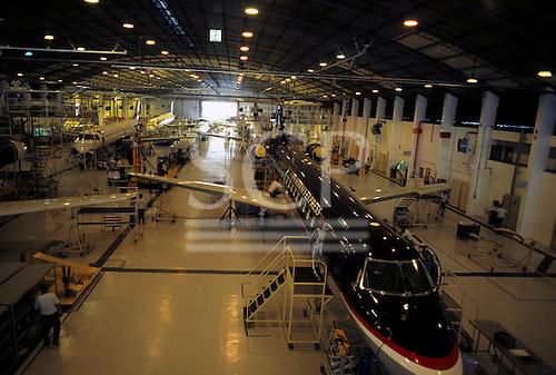 Sao Paulo, Brazil. New ERJ series aircraft under construction in hangar at Embraer factory.