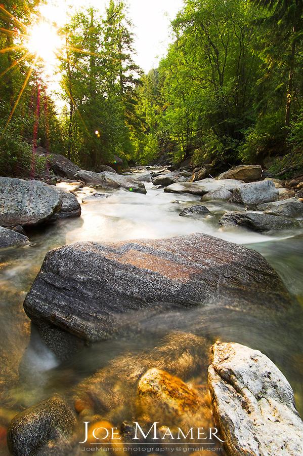 Kootenai Creek in Montana's Mission Range at sunrise.