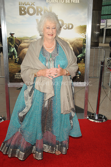 WWW.ACEPIXS.COM . . . . . ....April 3 2011, Los Angeles....Dame Daphne M. Sheldrick arriving at the premiere of ' 'Born To Be Wild 3-D' at the California Science Center on April 3, 2011 in Los Angeles, CA....Please byline: PETER WEST - ACEPIXS.COM....Ace Pictures, Inc:  ..(212) 243-8787 or (646) 679 0430..e-mail: picturedesk@acepixs.com..web: http://www.acepixs.com