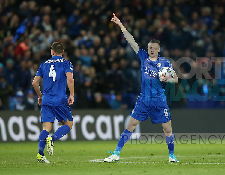 Leicester's Jamie Vardy celebrates scoring his sides opening goal during the Champions League Quarter-Final 2nd leg match at the King Power Stadium, Leicester. Picture date: April 18th, 2017. Pic credit should read: David Klein/Sportimage