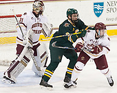 Joe Woll (BC - 31), Brian Bowen (UVM - 9), Connor Moore (BC - 7) - The visiting University of Vermont Catamounts tied the Boston College Eagles 2-2 on Saturday, February 18, 2017, Boston College's senior night at Kelley Rink in Conte Forum in Chestnut Hill, Massachusetts.Vermont and BC tied 2-2 on Saturday, February 18, 2017, Boston College's senior night at Kelley Rink in Conte Forum in Chestnut Hill, Massachusetts.
