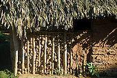 Pará State, Brazil. Iriri River. Aldeia Kararaô (Kayapó). Typical house of adobe and thatch.