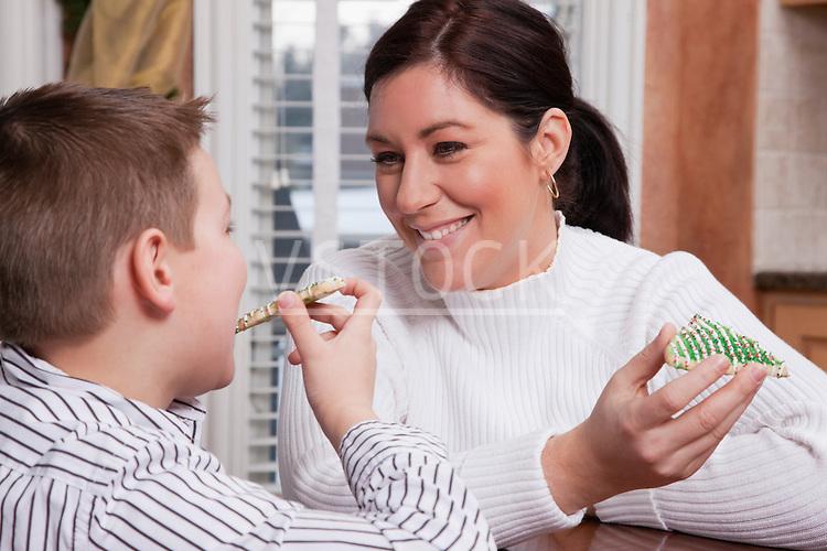 USA, Illinois, Metamora, mother and son (8-9) eating Christmas cookies