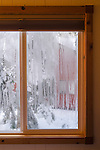 View out cabin glass window in winter showing condensation on inside, Dorrington, Calaveras County, California