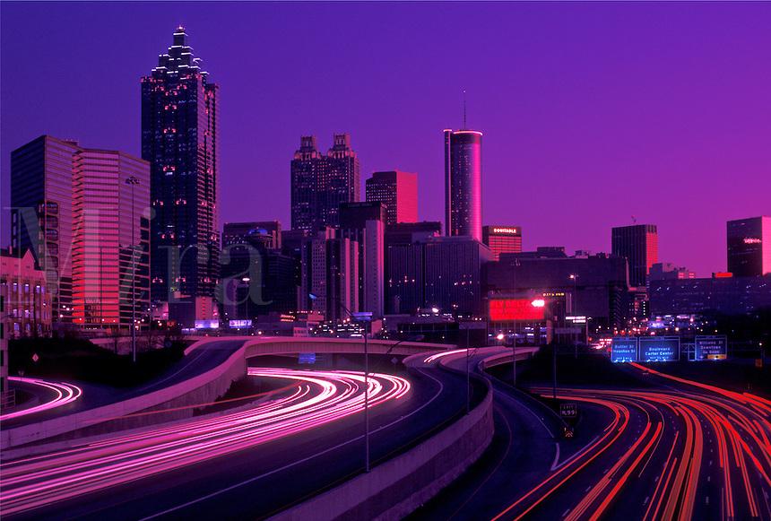 skyline, Atlanta, GA, downtown, Georgia, The downtown skyline of Atlanta at sunset with a stream of car lights on I-75 and I-85.