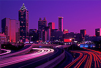 skyline, Atlanta, GA, downtown, Georgia, The downtown skyline of Atlanta at sunset with a stream of car lights on I-75 and I-85.