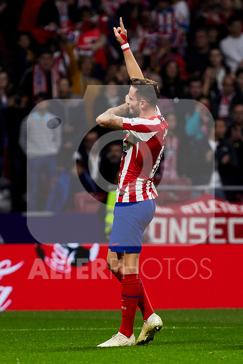 Saul Niguez (L) and Alvaro Morata (R) of Atletico de Madrid celebrate goal during the La Liga match between Atletico de Madrid and Athletic Club de Bilbao at Wanda Metropolitano Stadium in Madrid, Spain. October 26, 2019. (ALTERPHOTOS/A. Perez Meca)