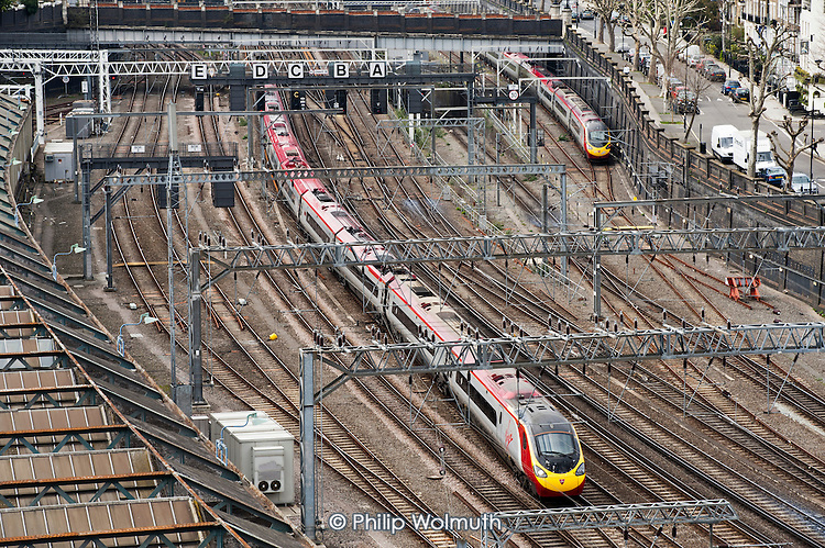 Railway lines north of Euston station, on the route of the HS2 high speed rail line to Birmingham.