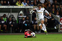 Pictured: Angel Rangel of Swansea.<br /> Monday 16 September 2013<br /> Re: Barclay's Premier League, Swansea City FC v Liverpool at the Liberty Stadium, south Wales.