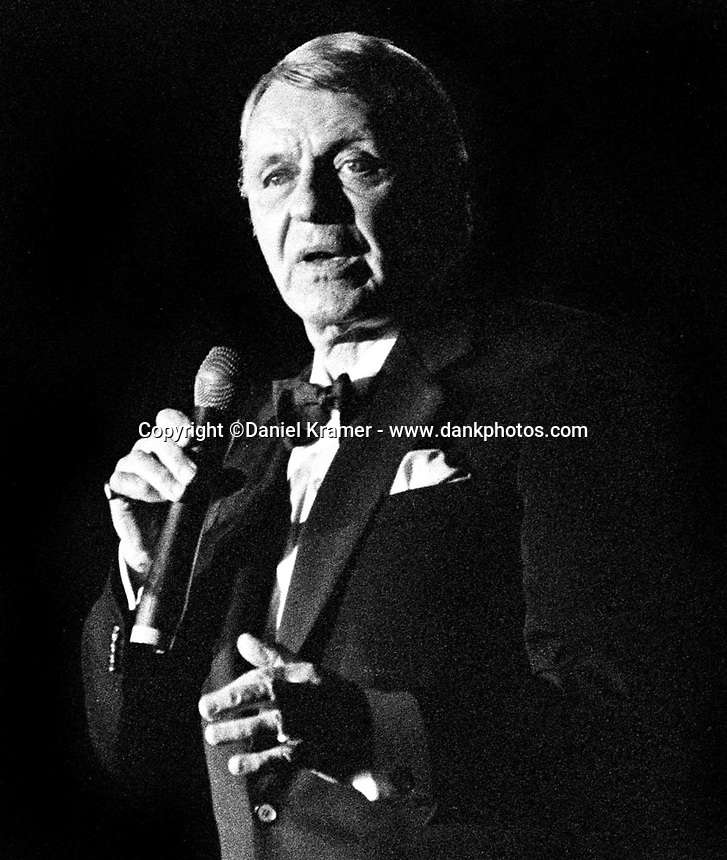 Frank Sinatra performs at his Celebrity Invitational golf tournament at the JW Marriott Desert Springs Resort and Spa in Palm Desert, California in 1993.