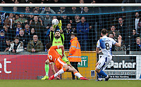 Blackpool's Mark Howard saves at close range from  Bristol Rovers' Ollie Clarke <br /> <br /> Photographer Andrew Kearns/CameraSport<br /> <br /> The EFL Sky Bet League Two - Bristol Rovers v Blackpool - Saturday 2nd March 2019 - Memorial Stadium - Bristol<br /> <br /> World Copyright © 2019 CameraSport. All rights reserved. 43 Linden Ave. Countesthorpe. Leicester. England. LE8 5PG - Tel: +44 (0) 116 277 4147 - admin@camerasport.com - www.camerasport.com