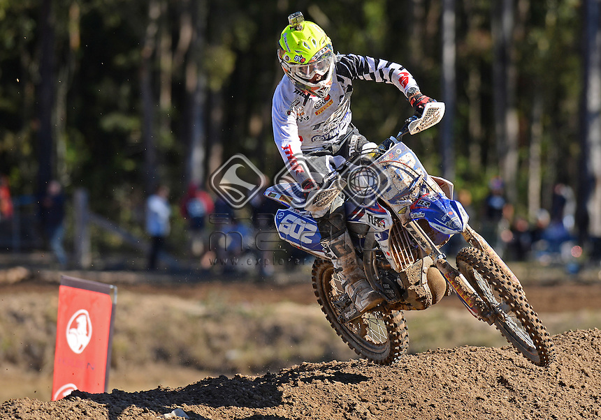 Lachie Latimer / Yamaha<br /> MX Nationals / Round 6 / MXD<br /> Australian Motocross Championships<br /> Raymond Terrace NSW<br /> Sunday 5 July 2015<br /> &copy; Sport the library / Jeff Crow