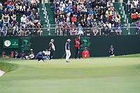 Tommy Fleetwood (ENG) and Tyrrell Hatton (ENG) on the 18th green during the 3rd round of the US Open Championship, Pebel Beach Golf Links, Monterrey, Calafornia, USA. 15/06/2019.<br /> Picture Fran Caffrey / Golffile.ie<br /> <br /> All photo usage must carry mandatory copyright credit (© Golffile | Fran Caffrey)