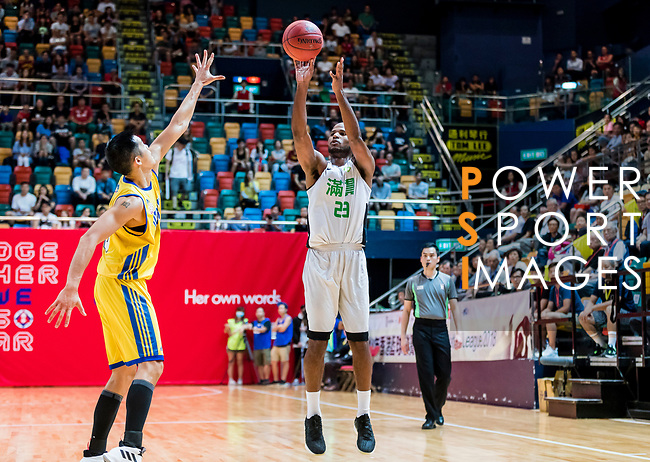 Austin Bryant M #23 of Tycoon Basketball Team shoots the ball against the Winling during the Hong Kong Basketball League playoff game between Tycoon and Winling at Queen Elizabeth Stadium on July 27, 2018 in Hong Kong. Photo by Yu Chun Christopher Wong / Power Sport Images