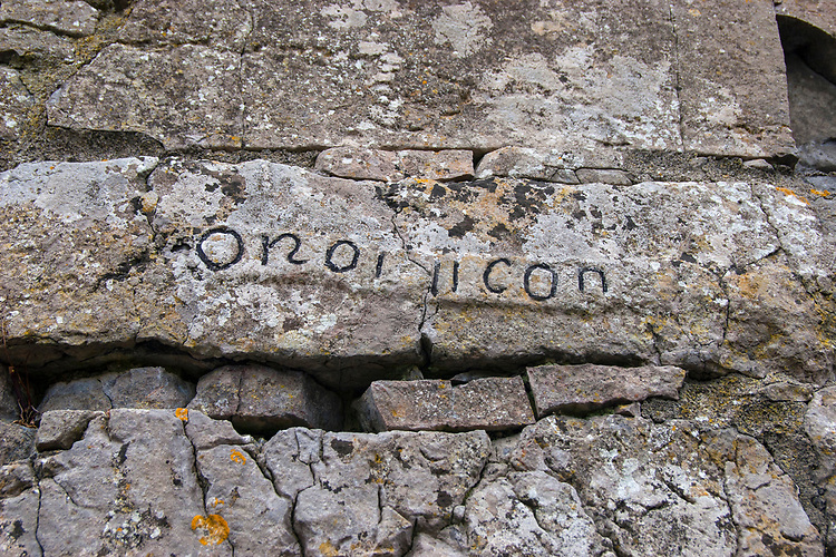 "OR AR 11 CANOIN - inscription saying ""pray for the two canons"", Na Seacht Tempaill, The Seven Churches, Inishmore, Aran Islands"