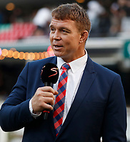 John Smit former Springbok captain (Former Chief executive officer) now with Supersport during the super rugby match between the Cell C Sharks and the Queensland Reds at Jonsson Kings Park Stadium in Durban, South Africa 19th April 2019. Photo: Steve Haag / stevehaagsports.com