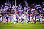 11.08.2019, Stadion an der Bremer Brücke, Osnabrück, GER, DFB Pokal, 1. Hauptrunde, VfL Osnabrueck vs RB Leipzig, DFB REGULATIONS PROHIBIT ANY USE OF PHOTOGRAPHS AS IMAGE SEQUENCES AND/OR QUASI-VIDEO<br /> <br /> im Bild | picture shows:<br /> die Mannschaften des VfL und RB Leipzig laufen in das Stadion ein, <br /> <br /> Foto © nordphoto / Rauch