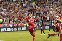 Frisco, TX. - September 13, 2016: The New England Revolution and FC Dallas are all even 1-1 with Maximiliano Urruti adding a goal during first half play in the 2016 U.S. Open Cup Final at Toyota Stadium.