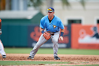 Tampa Bay Rays first baseman Brendan McKay (38) during an Instructional League game against the Baltimore Orioles on October 5, 2017 at Ed Smith Stadium in Sarasota, Florida.  (Mike Janes/Four Seam Images)