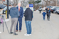 Republican presidential candidate and former Massachusetts governor Bill Weld speaks to people outside the Holy Name Parish Hall polling place as people arrive to vote in the Massachusetts presidential primary on Super Tuesday in West Roxbury, Massachusetts, on Tue., March 3, 2020. Weld is the lone Republican challenger to incumbent US President Donald Trump, and has fared poorly in early primaries, winning only a single delegate in Iowa. As Weld arrived, a group of ardent Trump supporters heckled him.
