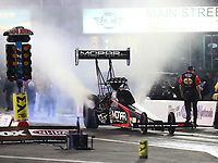 Apr 20, 2018; Baytown, TX, USA; NHRA top fuel driver Leah Pritchett during qualifying for the Springnationals at Royal Purple Raceway. Mandatory Credit: Mark J. Rebilas-USA TODAY Sports