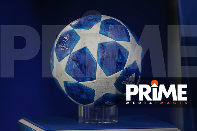 The Champions League match ball for the UEFA Champions League match between Manchester City and Olympique Lyonnais at the Etihad Stadium, Manchester, England on 19 September 2018. Photo by David Horn / PRiME Media Images.