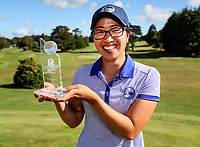 Caryn Khoo of Auckland with the Individual Player of the Tournament Trophy. Day Four of the Toro Interprovincial Women's Championship, Sherwood Golf Club, Whangarei,  New Zealand. Friday 8 December 2017. Photo: Simon Watts/www.bwmedia.co.nz