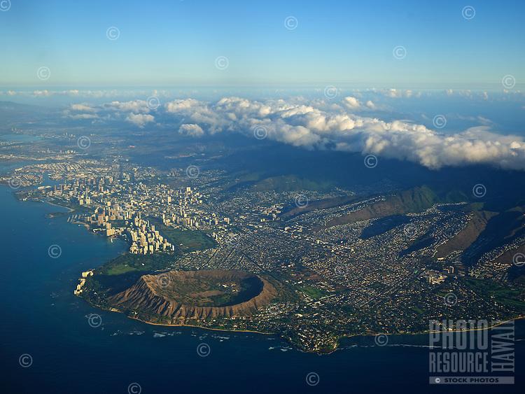 An ultra-high resolution aerial view of O'ahu includes Waikiki, Diamond Head, Honolulu, Kahala and Black Point.