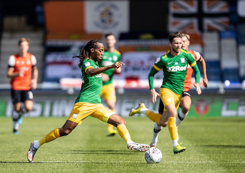Preston North End's Daniel Johnson breaks <br /> <br /> Photographer Andrew Kearns/CameraSport<br /> <br /> The EFL Sky Bet Championship - Luton Town v Preston North End - Saturday 20th June 2020 - Kenilworth Road - Luton<br /> <br /> World Copyright © 2020 CameraSport. All rights reserved. 43 Linden Ave. Countesthorpe. Leicester. England. LE8 5PG - Tel: +44 (0) 116 277 4147 - admin@camerasport.com - www.camerasport.com