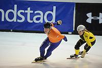 SHORTTRACK: AMSTERDAM: 04-01-2014, Jaap Edenbaan, NK Shorttrack, Prominenten Relay, Anke Jannie Landman, ©foto Martin de Jong