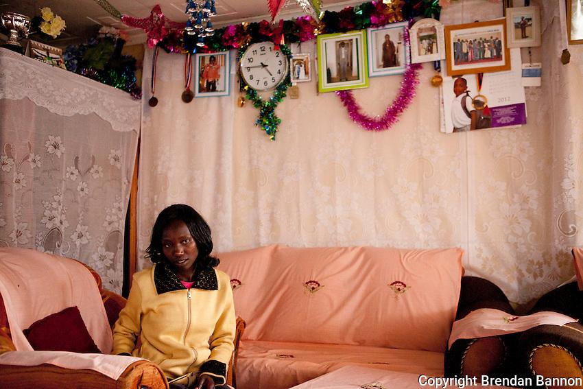 2011 London Marathon winner Mary Keitany at home in Iten, Kenya.