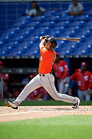 Miami Marlins Corey Bird (2) follows through on a swing during a Florida Instructional League game against the Washington Nationals on September 26, 2018 at the Marlins Park in Miami, Florida.  (Mike Janes/Four Seam Images)