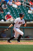 Birmingham Barons right fielder Jameson Fisher (7) follows through on a swing during a game against the Pensacola Blue Wahoos on May 9, 2018 at Regions FIeld in Birmingham, Alabama.  Birmingham defeated Pensacola 16-3.  (Mike Janes/Four Seam Images)