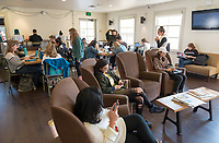 Students in the Green Bean.<br /> (Photo by Marc Campos, Occidental College Photographer)