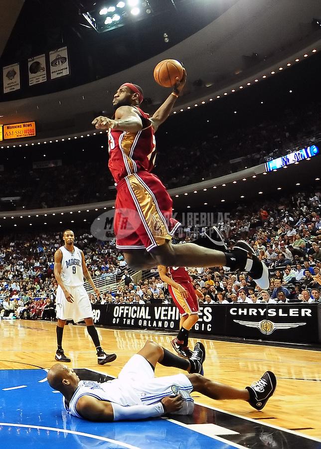 Feb. 11, 2008; Orlando, FL, USA; Cleveland Cavaliers forward LeBron James (23) against the Orlando Magic at Amway Arena Mandatory Credit: Mark J. Rebilas-