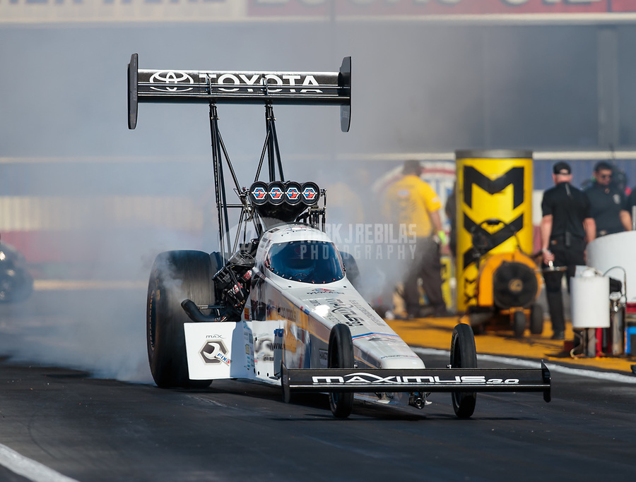 Feb 8, 2019; Pomona, CA, USA; NHRA top fuel driver Antron Brown during qualifying for the Winternationals at Auto Club Raceway at Pomona. Mandatory Credit: Mark J. Rebilas-USA TODAY Sports