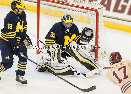 Destry Straight (BC - 17) scores. - The Boston College Eagles defeated the visiting University of Michigan Wolverines 5-1 (EN) on Saturday, December 13, 2014, at Kelley Rink in Conte Forum in Chestnut Hill, Massachusetts.