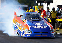 Sept. 1, 2013; Clermont, IN, USA: NHRA top alcohol funny car driver Todd Veney during qualifying for the US Nationals at Lucas Oil Raceway. Mandatory Credit: Mark J. Rebilas-