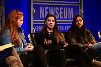 Washington, DC - March 23, 2018: Emma Dowd, Rebbeca Schneid, Nikhita Nookala and student journalists from Marjory Stoneman Douglas High School in Parkland, Florida participate in a panel discussion, moderated by CBS correspondent Margaret Brennan, at the Newseum in Washington, D.C. March 23, 2018. The students recounted their experiences in covering the shooting tragedy at their school for The Eagle Eye newspaper.  (Photo by Don Baxter/Media Images International)