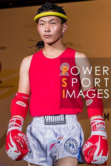 Ulziibayar Buyan-Orgil (Red) of Mongolia enters to the ring prior the male muay 54KG division weight bout against Liu Hin Chung (Not in picture) of Hong Kong during the East Asian Muaythai Championships 2017 at the Queen Elizabeth Stadium on 11 August 2017, in Hong Kong, China. Photo by Yu Chun Christopher Wong / Power Sport Images