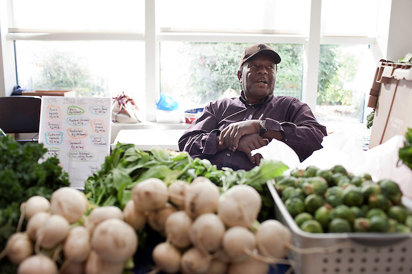 November 23, 2010. Chapel Hill, NC.. Stanley Hughes, an organic farmer whose family has been in the business for generations, sells sweet potatoes and produce at the UNC Hospital Farmer's market..   The sweet potato seems to be having a comeback, with many farmers increasing their planting of the potato's numerous varieties, as well as many restaurants including it on their menu in various forms such as the ever popular sweet potato fry.