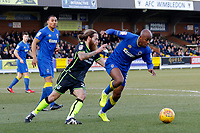 Nadjim Abdou of AFC Wimbledon sees off the danger  during the Sky Bet League 1 match between AFC Wimbledon and Bristol Rovers at the Cherry Red Records Stadium, Kingston, England on 17 February 2018. Photo by Carlton Myrie.